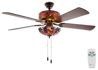52 Quot W Tiffany Style Stained Glass Magna Carta Ceiling Fan