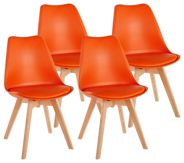 Consigned Contemporary Chairs, Solid Wooden Legs and Cushioned Pad, Set of 4, Or