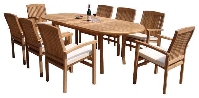 """9-Piece Outdoor Teak Dining Set, 94"""" Oval Table, 8 Wave Stacking Arm Chairs"""