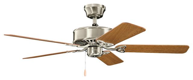 50 Renew Fan, Brushed Stainless Steel/dark Oak/medium Oak Blade.