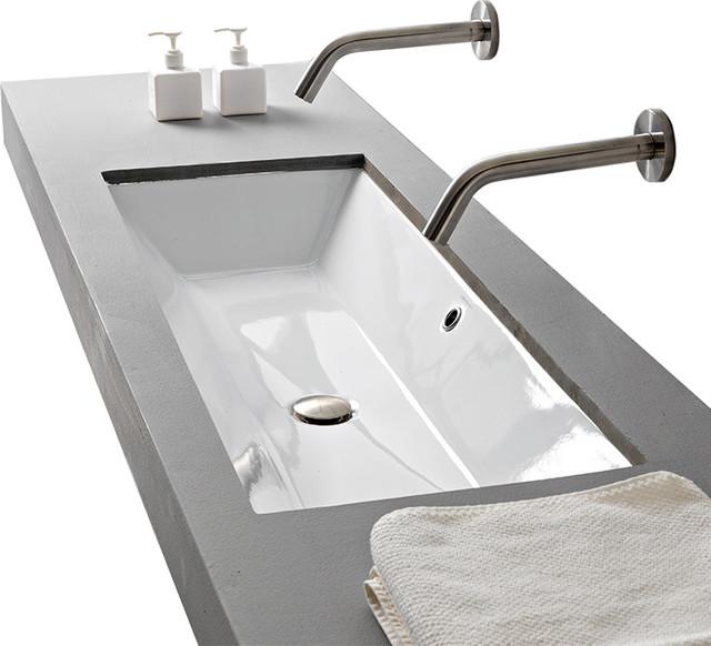 Rectangular Small White Ceramic Undermount Sink Contemporary Bathroom Sinks By Thebathoutlet Houzz