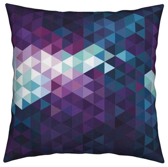 Purple Teal Abstract Geometric Gradient Ombre Throw Pillow