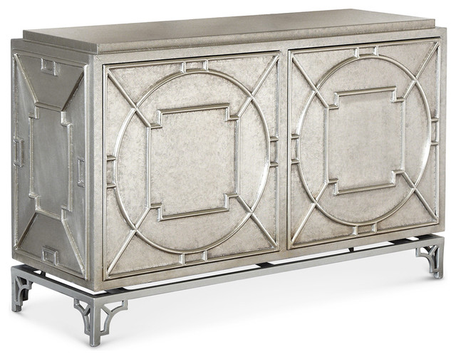 Kathy Kuo Home Keaton Hollywood Regency Silver Storage 2 Door Cabinet - Buffets And Sideboards ...