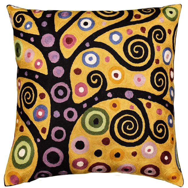 """Klimt Tree Of Life Yellow Pillow Cover Soulful Hand-Embroidered 18"""" X 18""""."""