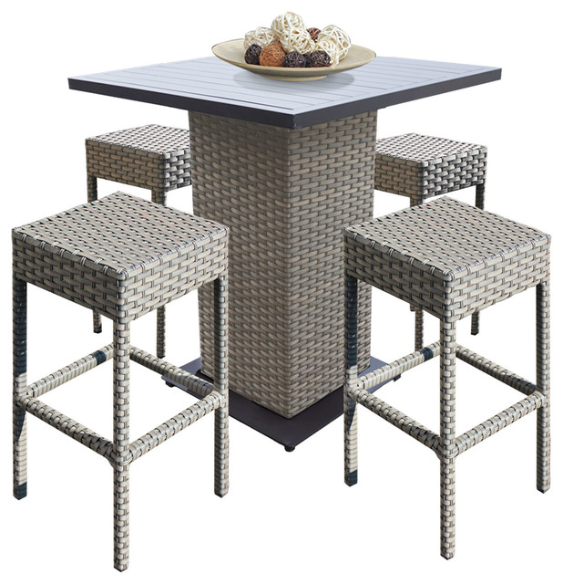 Swell Pub Table Set Backless Barstools 5 Piece Wicker Patio Furniture Grey Stone Interior Design Ideas Greaswefileorg