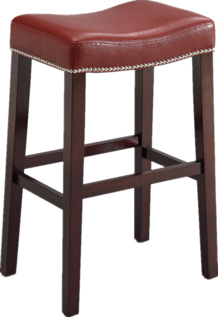 Counter height stools nailhead trim faux leather cushion set of 2 view in your room houzz - Leather bar stools with nailhead trim ...