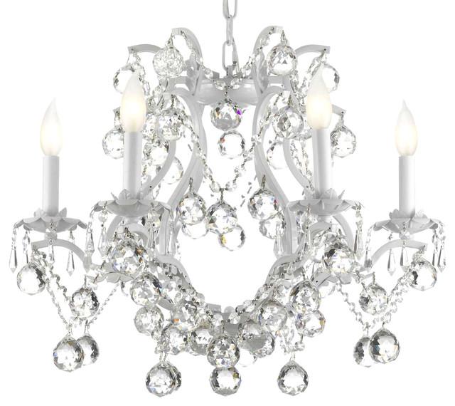 Swarovski Crystal Trimmed White Wrought Iron Crystal Chandelier – White Crystal Chandeliers