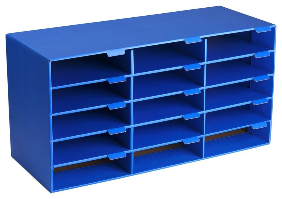 Adiroffice Blue Classroom File Organizer 15 Slots Contemporary