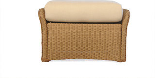 Lloyd Flanders Weekend Retreat Ottoman In Ivory Finish and On An Angle Granite