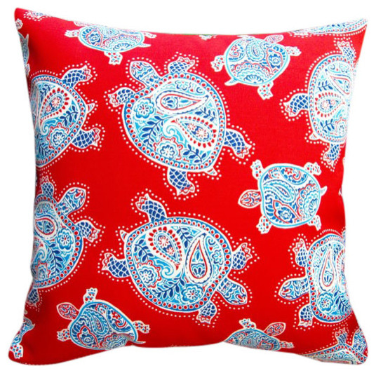 Beach Style Outdoor Cushions : Outdoor Kids Red Sea Turtles 18x18 Throw Pillow Set Of 2 - Beach Style - Outdoor Cushions And ...
