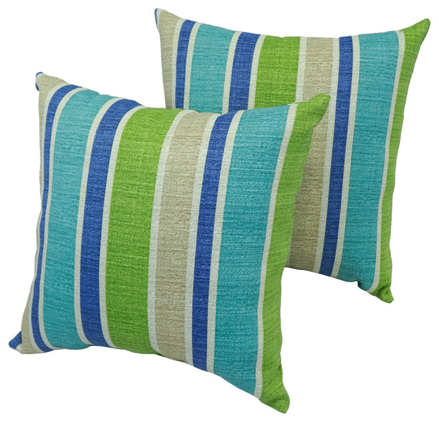 "Blaziing Needles 17"" Outdoor Throw Pillows, Blue and Green, Set of 2"
