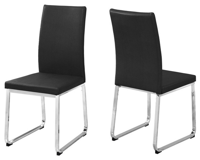 Haldan Dining Chairs, Set Of 2, Black Seat, Chrome Base.