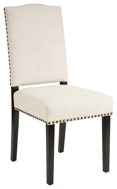 Stuart Beige Fabric Dining Chairs, Set Of 2.