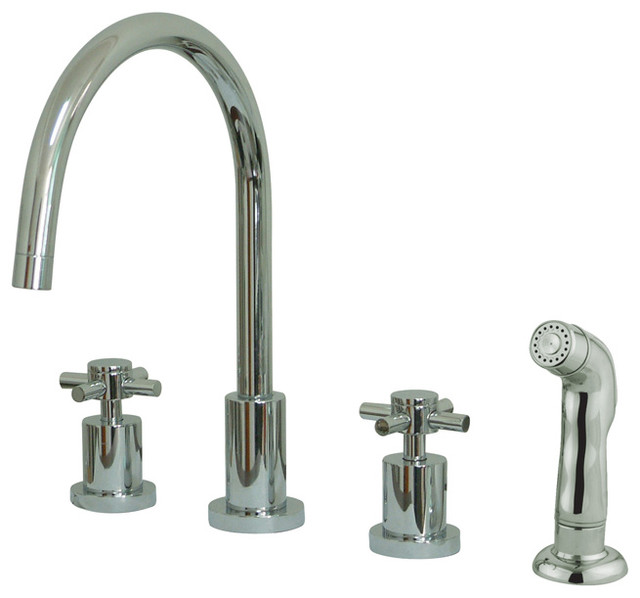 """Ks8721dx 8"""" Widespread Kitchen Faucet With Plastic Side Sprayer."""
