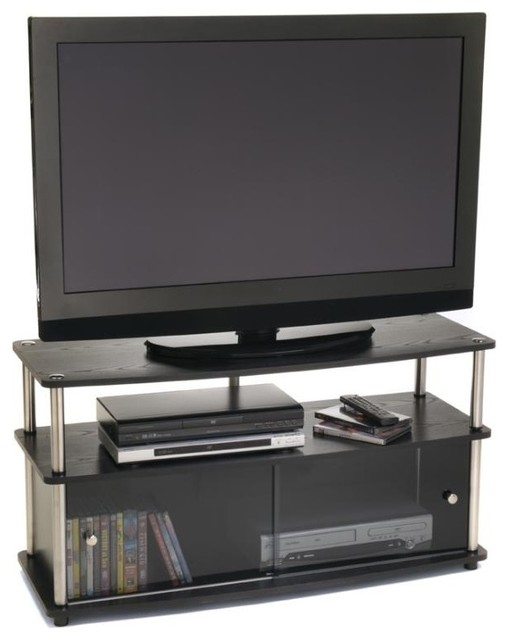 Plasma TV Stand w Glass Doors in Black Finish - Contemporary - Entertainment Centers And Tv ...