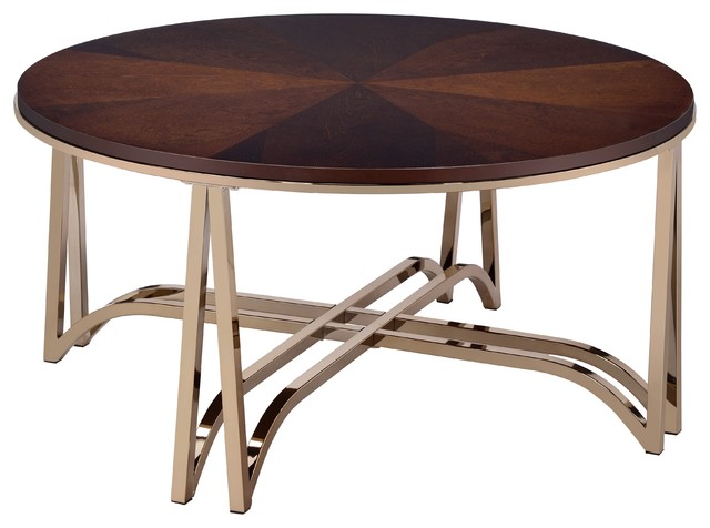 Coffee Table In Walnut And Champagne Metal Birch Wood Veneer Particle Board