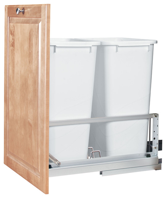 Rev-A-Shelf 50Qt Double Pull Out Waste Bin - Modern - Trash Cans - by Woodworker's Hardware
