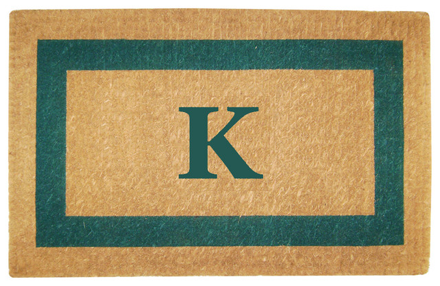 Heavy Duty Coco Green Single Picture Frame Mat, Monogrammed K Mat, 22x36x1.