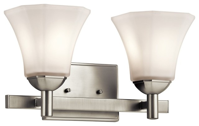 Kichler Serina Bath 2-Light, Brushed Nickel, Satin Etched With White Inside.