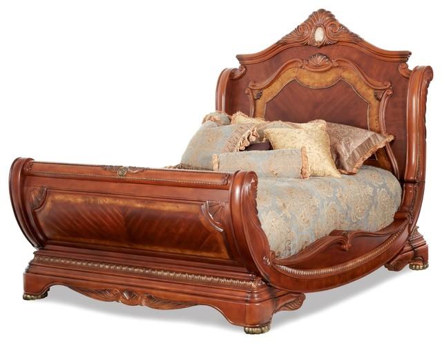 Aico Furniture, Cortina Sleigh Bed, Honey Walnut, Eastern King.