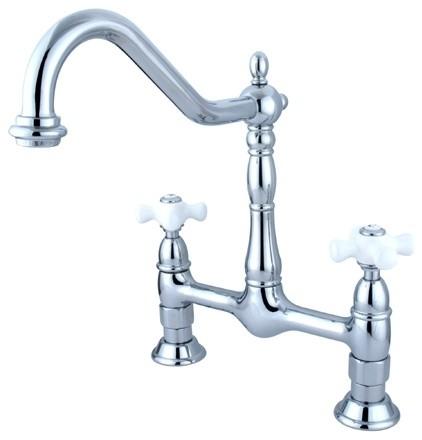 """Heritage Double Handle 8"""" Center Bridge Kitchen Faucet, Polished Chrome."""