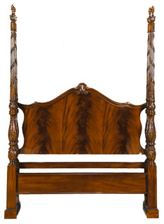 Mahogany Queen Bed With Hand Carved Flame Finial Posts