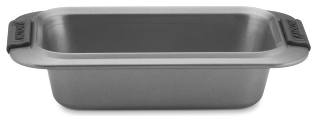 """Advanced Nonstick Bakeware 9""""x5"""" Loaf Pan, Gray With Silicone Grips."""