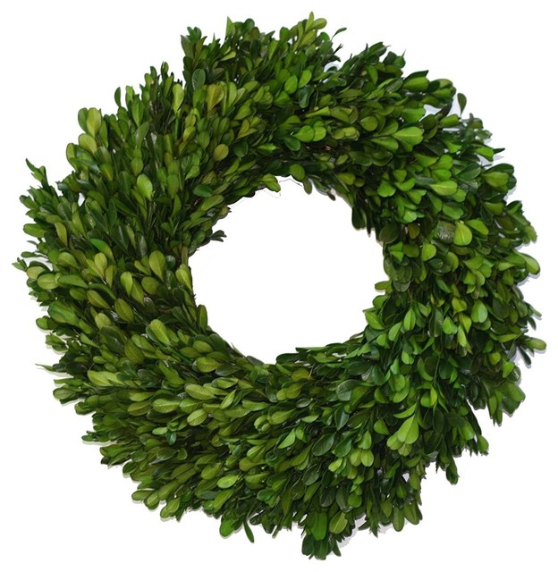 "Preserved Garden Boxwood Wreath 14""."