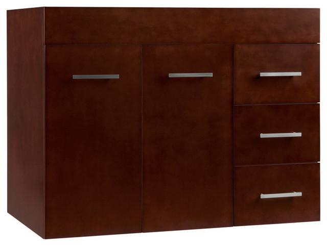 "Ronbow 31"" Bella Solid Wood Wall Mount Vanity Base Cabinet, Cinnamon, Left."