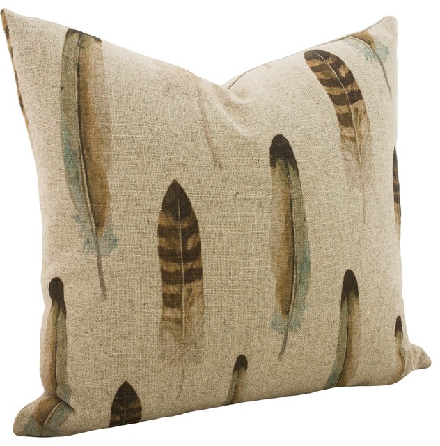 Linen Feather Throw Pillow.