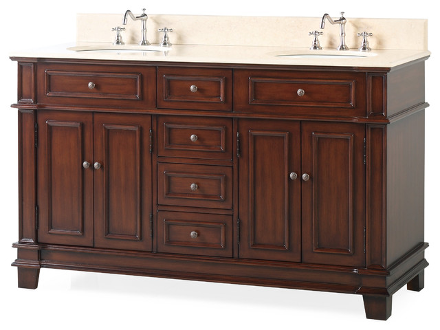 60 Sanford Double Sink Large Bathroom Vanity Traditional Bathroom Vanities And Sink Consoles By Chans Furniture Houzz
