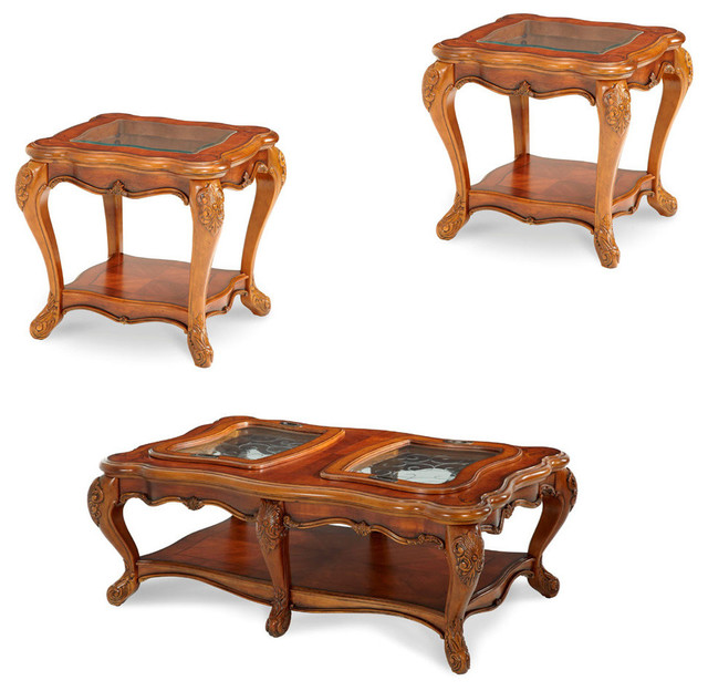 Palais Royale Occasional Table Set 3 Piece Set Traditional Coffee Table Sets By