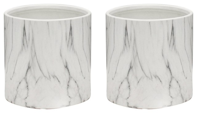 Indoor Ceramic Marble Pot, Set of 2, White Marble