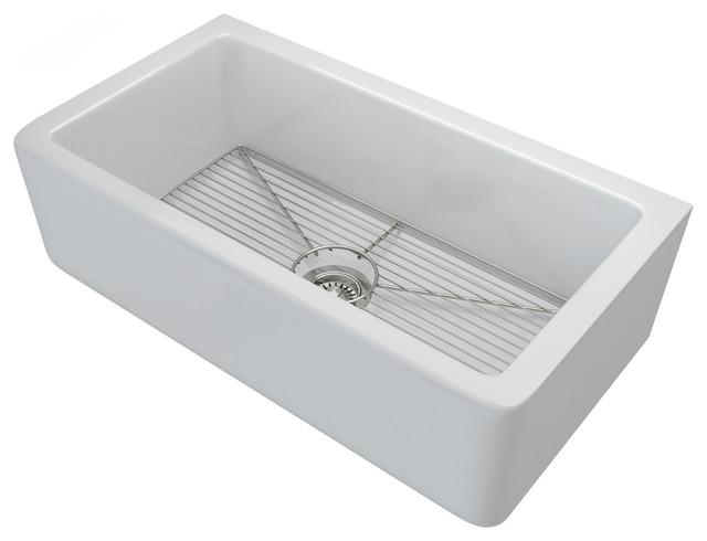 """Turino Fireclay 33"""" Reversible Farmhouse Single Bowl Kitchen Sink"""