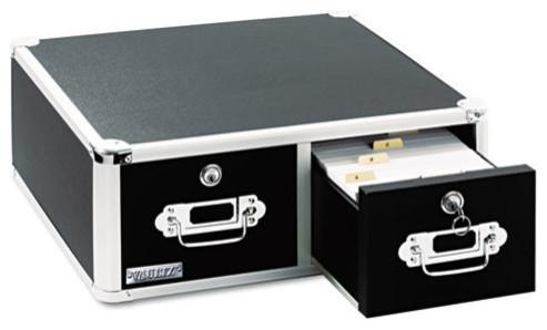 "Vaultz Locking 5""x3"" 2-Drawer Index Card Box, 3000-Card Capacity, Black - Contemporary - Storage ..."