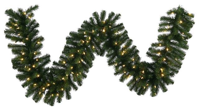 """Douglas Fir Garland, 9'x14"""", Warm White LED Lights"""