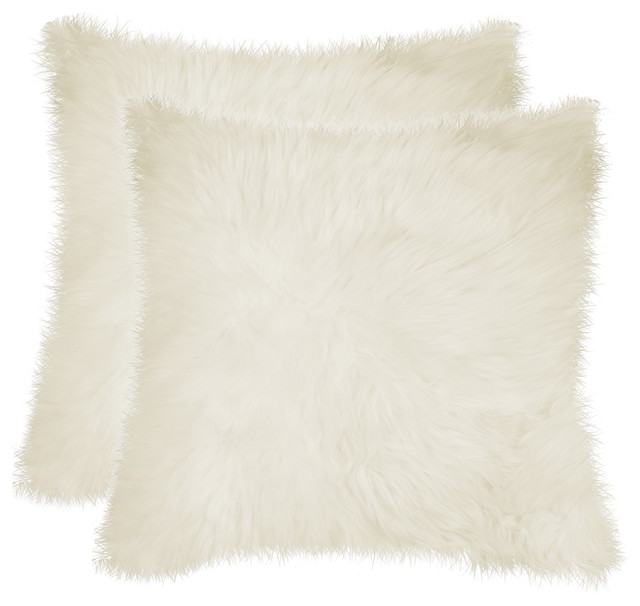 "100% Sheepskin New Zealand Pillows, Set Of 2, Natural, 18""x18""."