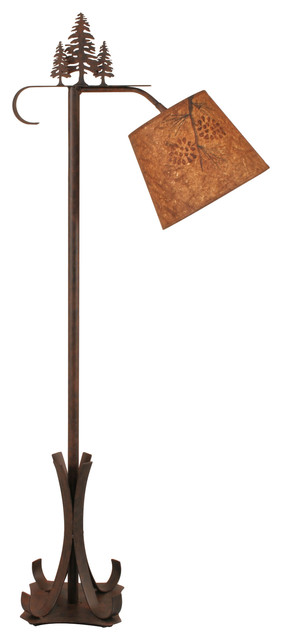 Iron Bridge Floor Lamp With Pine Trees.