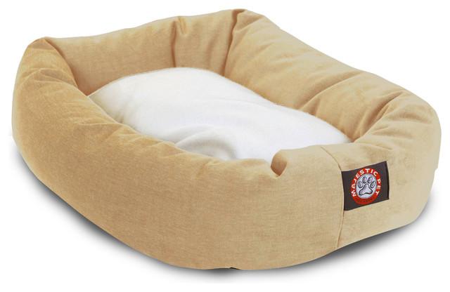 Brilliant Majestic Pet Products Bagel Bed Black And Sherpa 24 Khaki 23 X 32 X 7 Creativecarmelina Interior Chair Design Creativecarmelinacom