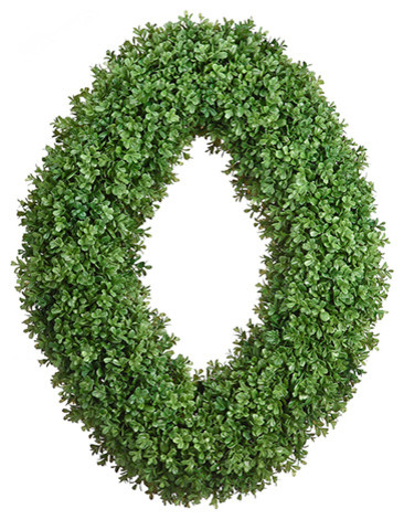 Silk Plants Direct Boxwood Oval Wreath, Pack Of 1.