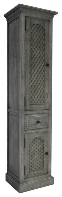 "79"" Rustic Solid Fir Side Cabinet, Gray."