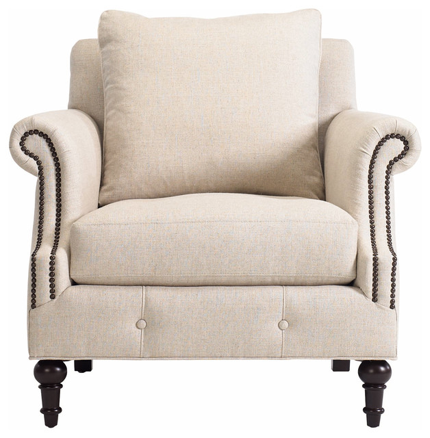 yani modern classic dark wood antique brass beige linen armchair