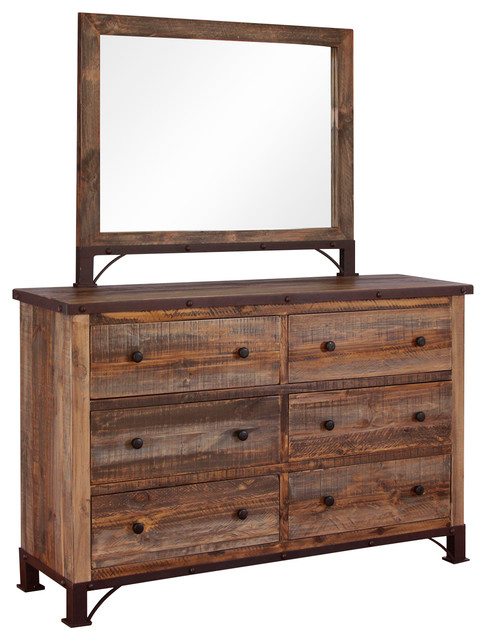 Beau Industrial Rustic 6-Drawer Dresser, With Mirror.