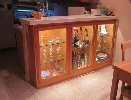 Custom Liquor Cabinet Install New Kitchen Countertops