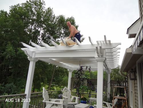 how to put a roof on a pergola
