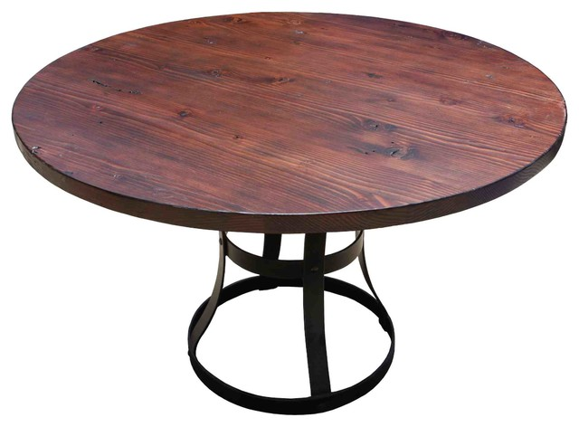 Round Detroit Dining Table With Metal Base Industrial