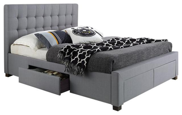 Kyla 4-Drawer Bed, Gray, Queen.