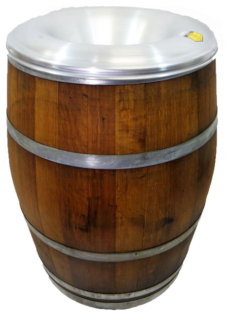 reclaimed wine barrel waste receptacle with aluminum fire safe lid - Outdoor Trash Cans