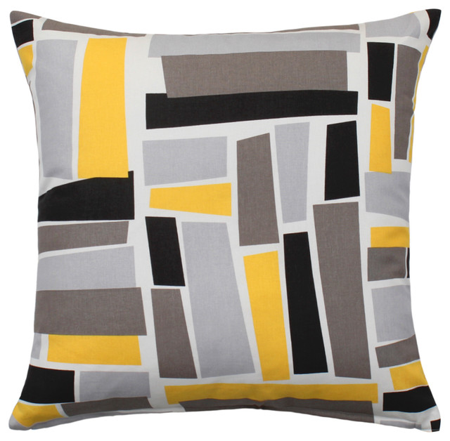 Yellow And Black Decorative Pillows : Throw Pillow Cover, Yellow Gray Black Patterned, 20