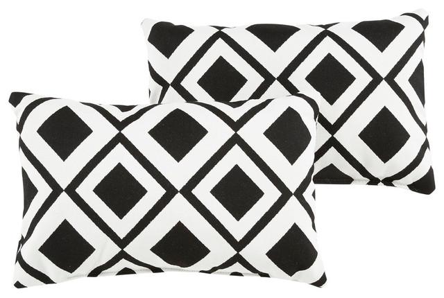 Carrington Sunbrella Outdoor Lumbar Pillow Set Of 2 Black White Contemporary Cushions And Pillows By Mozaic Company